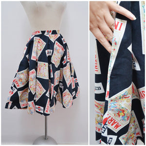 1950s Novelty Martini print black cotton full skirt - Petite extra x small
