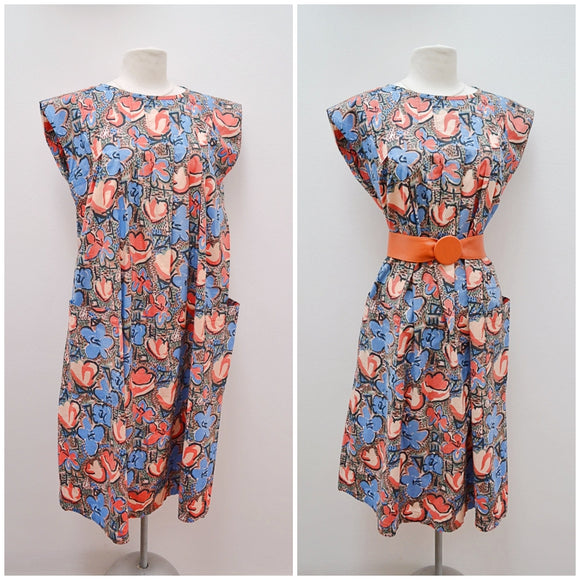 1950s 60s Printed cotton maternity dress with pockets