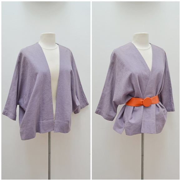 1980s Mauve linen rayon loose open fronted jacket