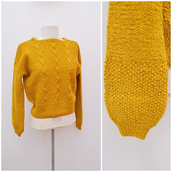 1960s Mustard wool handknitted sweater