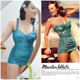 1940s Teal Martin White Telescopic ruched swimsuit - Extra Small Small