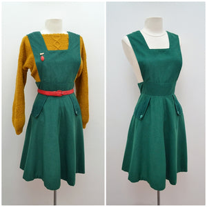 1970s does 40s Green corduroy pinafore dress