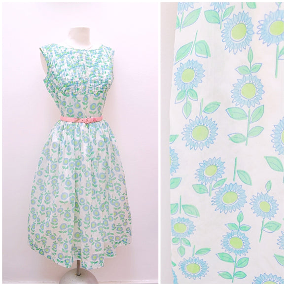 1960s White nylon day dress with blue/green sunflower print