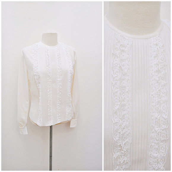 1960s White nylon frilly lace & pin tuck blouse