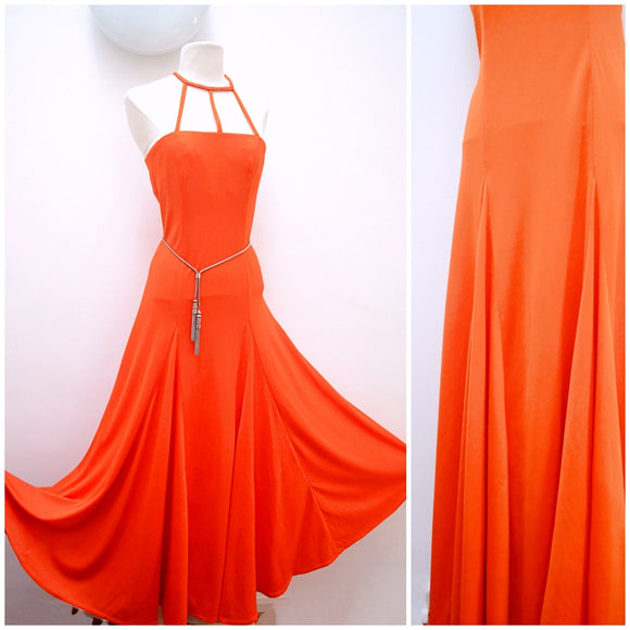1970s Orange jersey godet full maxi skirt evening dress with cage neck