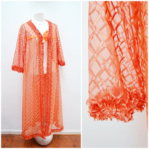 1960s 70s Orange patterned nylon long robe - Small Medium