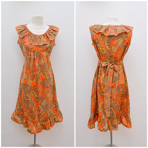 1970s Orange nylon paisley print ruffle midi dress - Medium