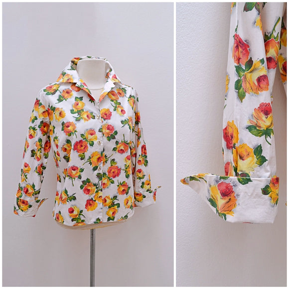 1950s Orange rose print 3/4 sleeve cotton blouse