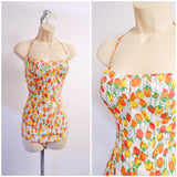 1950s Orange yellow rose print cotton shirred back swimsuit
