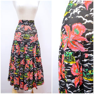 1970s Tropical orchid print black/pink tiered long skirt