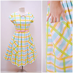 1960s Pastel blue green yellow check cotton day dress with pockets