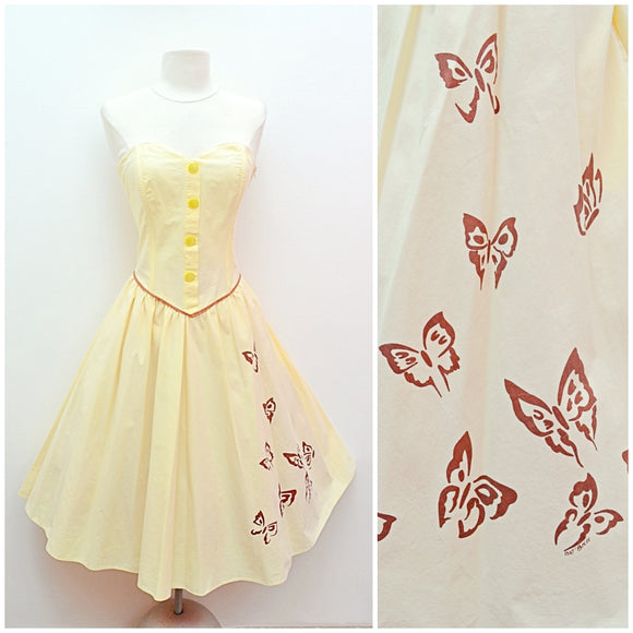 1980s does 50s Lemon yellow Butterfly print cotton strapless sun dress
