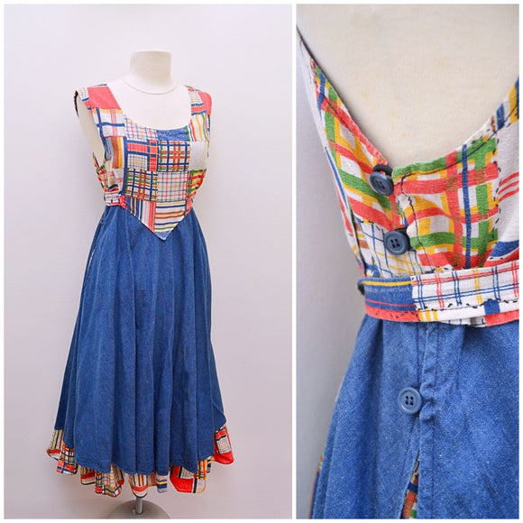 1970s Patchwork print cotton & blue denim full skirt tie back dress