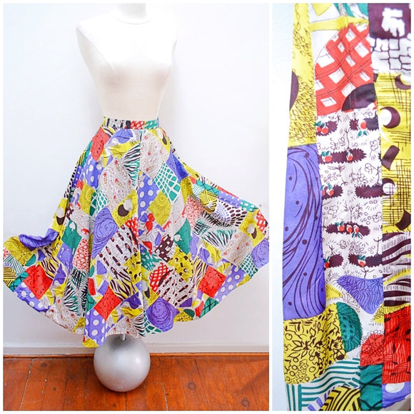 1950s Novelty print faux patchwork taffeta reversible evening skirt