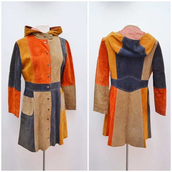 1970s Patchwork suede hooded coat - Small