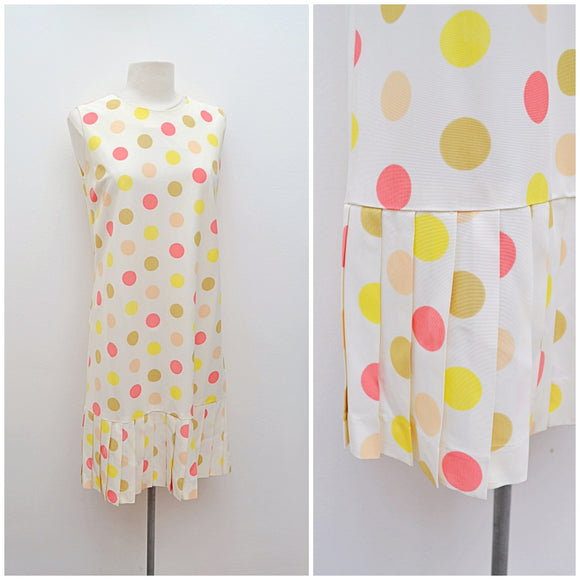 1960s does 20s Polka dot rayon pleated mermaid hem shift dress