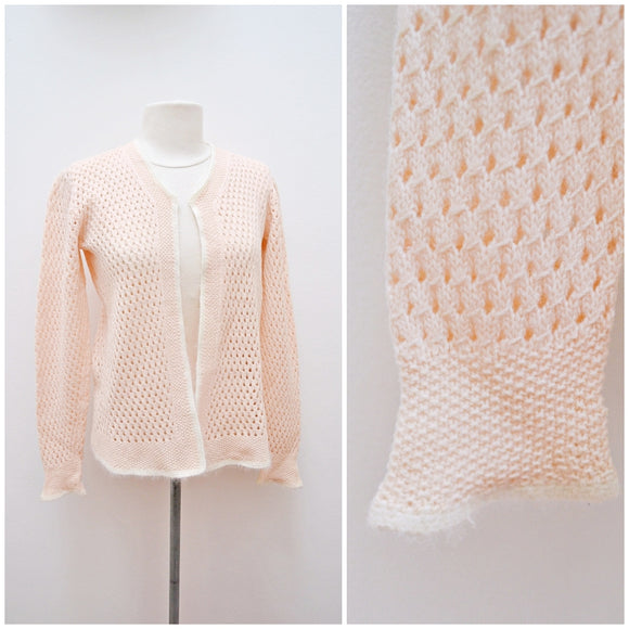 1940s 50s Pastel peach & white Angora openwork cardigan - Medium