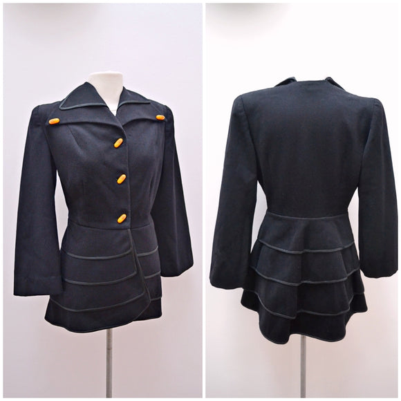 1940s Black cashmere tiered peplum jacket with Bakelite buttons