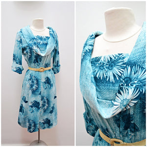 1960s Teal blue photographic daisy & rose print cotton day dress