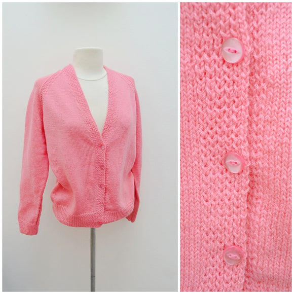 1960s Pink wool V neck cardigan - Large Extra Large