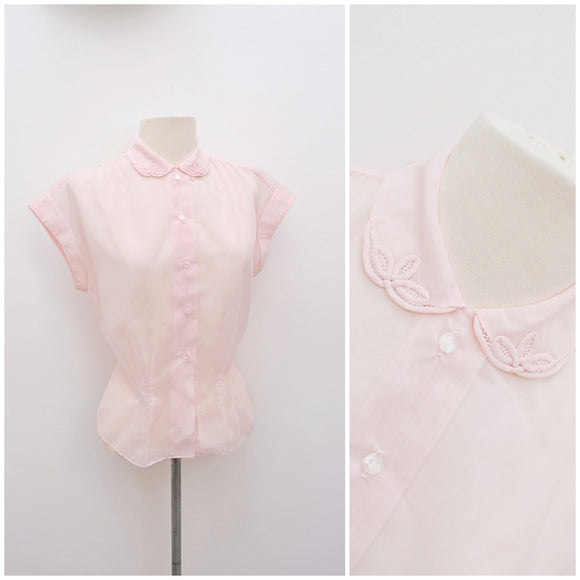 1950s Hand embroidered pink nylon St Michael blouse - Medium
