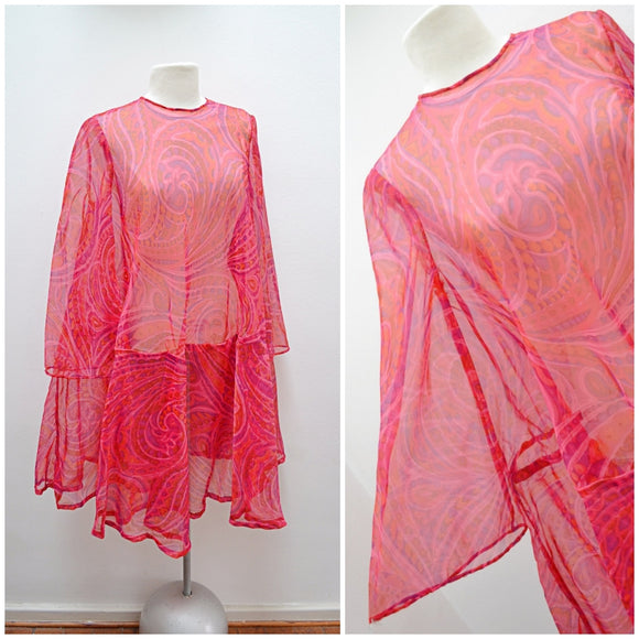 1960s Pink psychedelic bell sleeve sheer trapeze dress - Small Medium Large