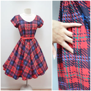 1960s Plaid print red cotton dress with pocket