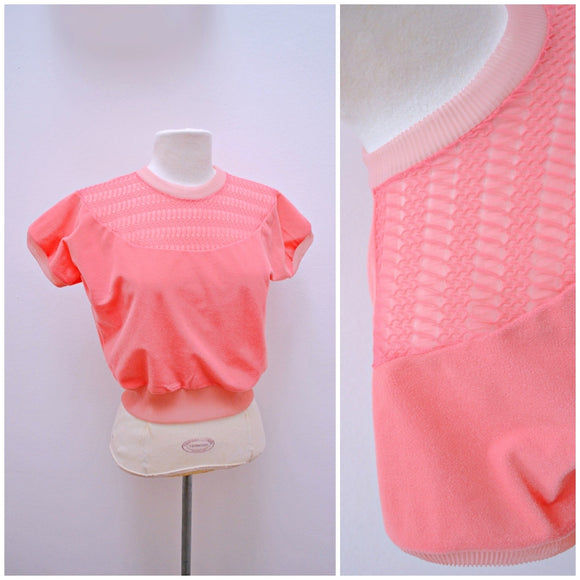 1950s 60s Pink nylon bib detail cap sleeve t shirt top