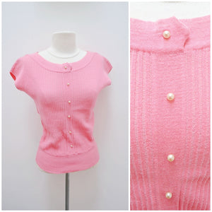 1950s Italian pink wool cap sleeve day top - Extra small Small