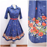1950s 60s Blue & red poppy border print cotton day dress