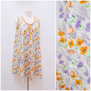 1950s 70s Reworked poppy print cotton maternity dress