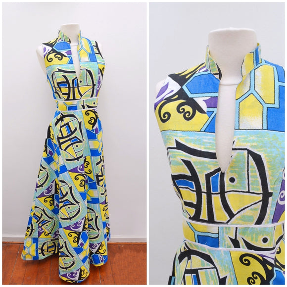 1970s Crazy print cotton gored maxi party dress - Small