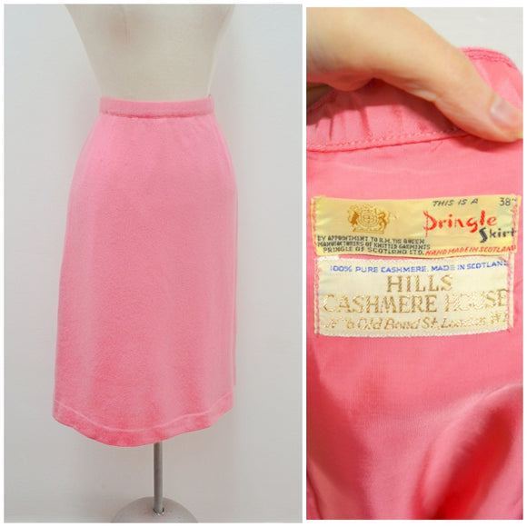 1960s Sugar pink cashmere Pringle straight skirt - Small