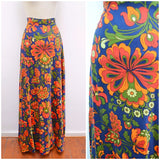 1970s Psychedelic blue & red floral cotton maxi skirt