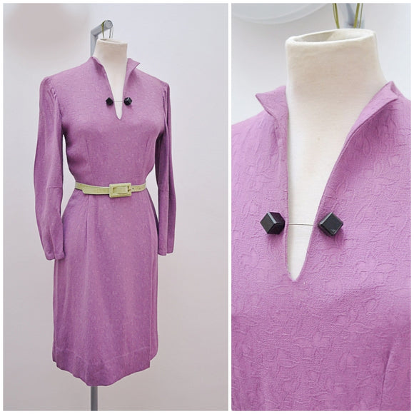 1940s Purple slit neck autumn winter day dress