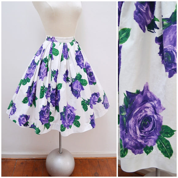 1950s White & purple rose print cotton pleated full skirt