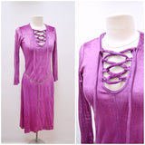 1970s Purple velour lattice lace up neck fitted dress
