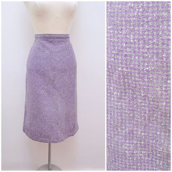 1960s Lilac purple check wool straight skirt - Extra x Large