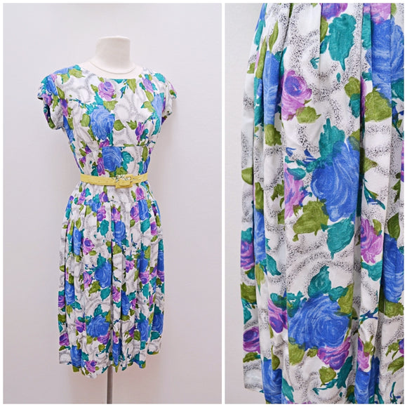 1950s Blue & purple rose print rayon day dress
