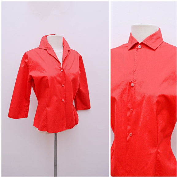 1950s Red cotton 3/4 sleeve blouse with pointed collar & yoke