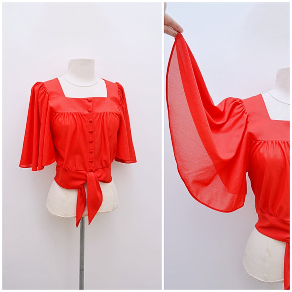 1970s Red angel sleeve tie front Richard Shops blouse