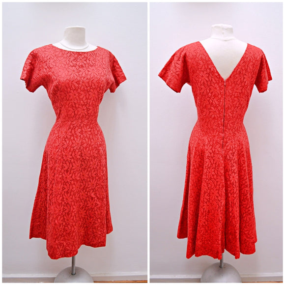 1950s Red lace full skirt evening dress - Medium