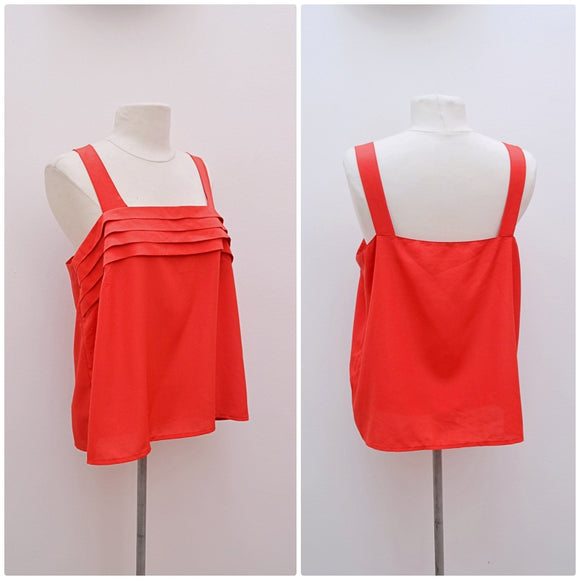 1980s Red pleated bust loose Sommermann cami top
