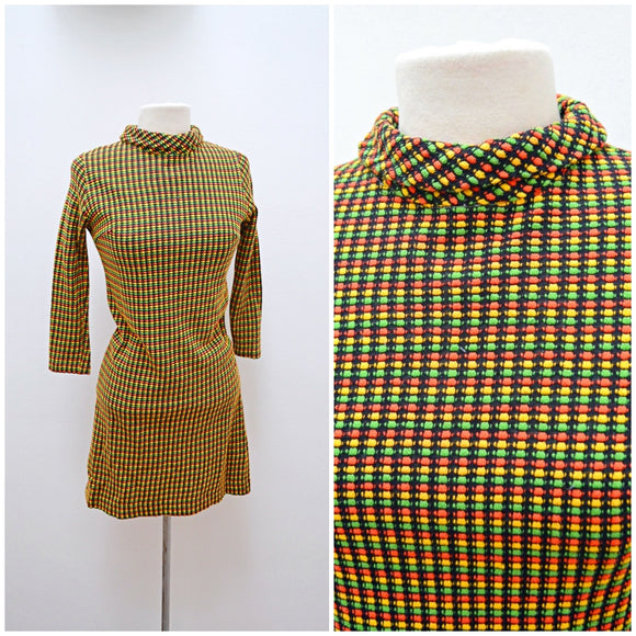 1960s Green Red Yellow jersey roll neck black mini dress