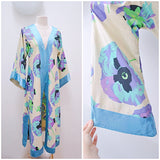 1920s 30s style Poppy print blue & purple cotton/satin pointed sleeve robe
