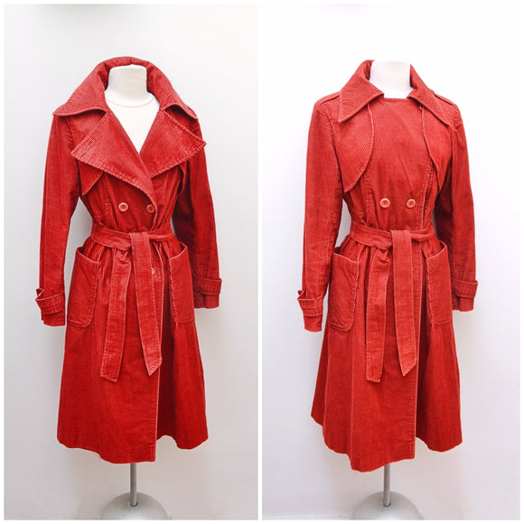 1970s Rust red corduroy double breasted mackintosh coat