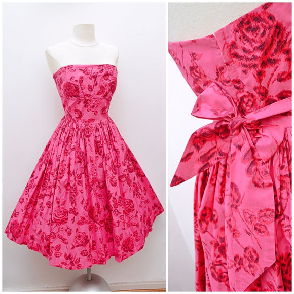 1950s Pink rose print cotton strapless full skirt Sambo Fashions dress