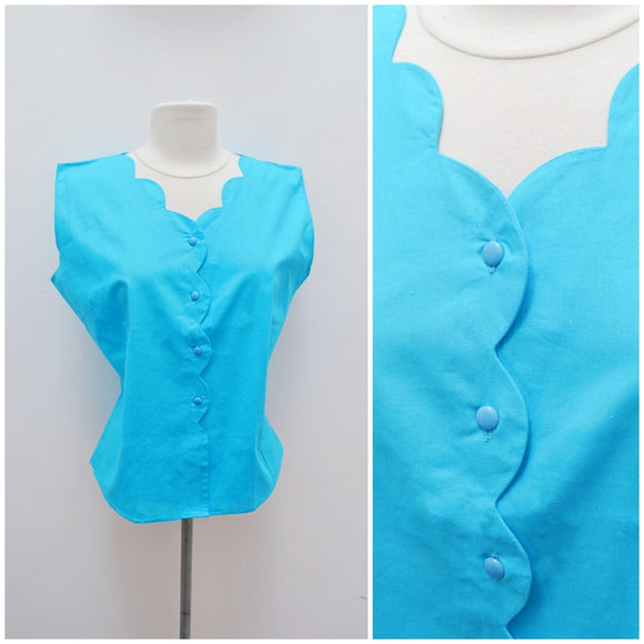 1950s Turquoise blue cotton scalloped blouse