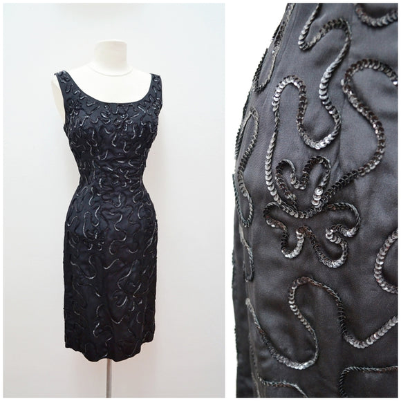 1950s Black taffeta sequin soutache wiggle cocktail dress