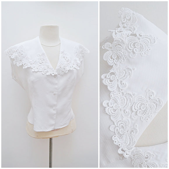 1950s White lace shawl collar rayon blouse - Large